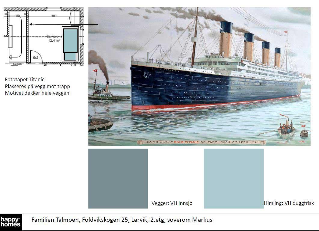 Moodboard soverom med fototapet titanic